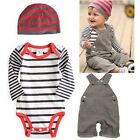 3PCS Kids Baby Boy Toddler Hat+Stripe Bodysuit+Bib Pants Overall Outfit Set 0-3Y