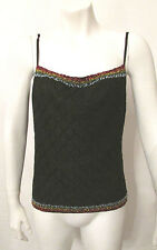 CHRISTIAN DIOR Boutique spaghetti straps beaded top blouse camisole shirt sz 8