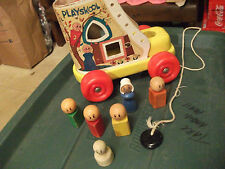 Vintage Fisher Price/ Playskool Wooden Pull Toy Old Woman Who Lived in a Shoe