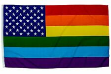 3X5 USA RAINBOW FLAG GAY LESBIAN NEW GLORY LGBT Transgender Nylon Poly Banner