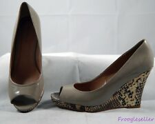 Ann Taylor womens peep toe pumps wedge shoes 8.5 M taupe patent leather