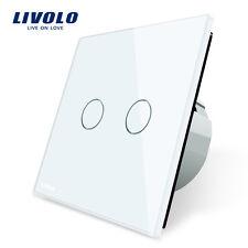 2 GANG Livolo White Crystal Glass Wall Switch EU-Std 250V Touch Screen Light