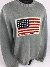 Vintage Polo Ralph Lauren Jeans Sweater Cable Knit USA Flag Spelled Out RL67 L
