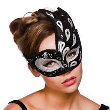 Black Silver Eyemask Fancy Dress Womens Masquerade Ball Ladies Costume Mask New