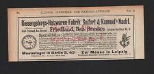 FRIEDLAND, Werbung 1908 Seifert & Kammel's Nachf. Riesengebirgs-Holzwaren-Fabrik