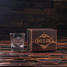 Personalized Whiskey Scotch Glass Set w/Wood Box Wedding, Groomsman, Fathers Day