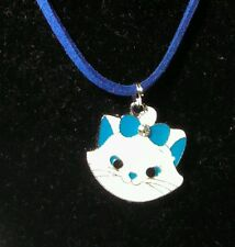 Blue & White Aristocats Face Pendant on Suede Cord Necklace w/Lobster Clasp