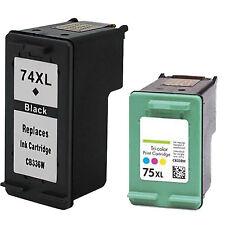 2 Pack Blk Color ink Fits HP 74XL HP 75XL Deskjet D4260 D4263 D4268 D4280