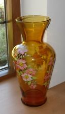 Vintage Amber Glass Vase with Wild Rose Decoration