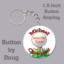 Golf Keyring Personalized with Name, City and State 1.5 Inch Button Charm