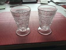 DUNCAN MILLER SANDWICH GLASS - 2  FOOTED JUICE TUMBLERS - Clear, 5 Oz., #41