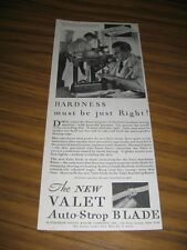 1930 Print Ad New Valet Auto-Strop Razor Blade Craftsman at Work