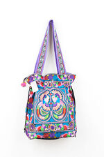 Charming Multi Bird Hill Tribe Tote Bag with Draw String Thai Hmong Embroidered