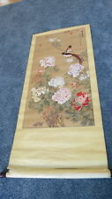 Antique Chinese Scroll Wall Hanging  Flowers Birds Signed Peonies