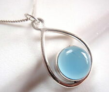 Chalcedony Globe in Hoop Pendant 925 Sterling Silver Imported from India