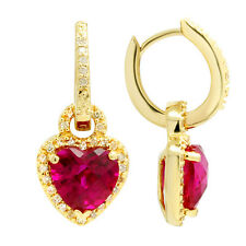 10K YELLOW GOLD PAVE DIAMOND CREATED RED RUBY HEART DANGLE DANGLING EARRINGS