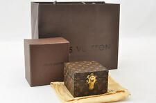 """Auth Louis Vuitton Monogram Canvas Mini Jewelry Box Hard Trunk Case #S3710"