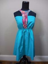 NWT $99 JUDITH MARCH turquoise embroidered T Strap  halter DRESS One Size