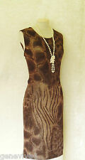 GINA BACCONI Size 16 18 Brown Gold Metallic Animal Print Evening Wedding Dress