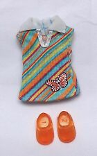 Barbie Kelly Doll Clothes Butterfly Fashion Dress Striped Aqua Orange + Shoes