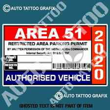 AREA 51 PARKING PERMIT DECAL STICKER FUNNY NOVELTY WARNING DECALS STICKERS
