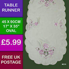 Pink Cream Embroidered Oval Table Runner Dining Kitchen  M233