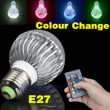 E27 5W Dimmable LED Bulbs Color Changing RGB Ball Lamp Light + Remote Control UK