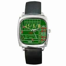 Craps Dice Game Practice Table Las Vegas Gambling Leather Square Watch New!