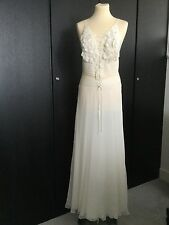 BNWT STUNNING LA PERLA CREAM SILK LONG EVENING DRESS APPLIQUE FLOWER - IT 44