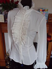 CREAM FRILLY BLOUSE FRONT HIGH NECK GOTHIC SHIRT SIZE XXL 16