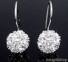 18K WHITE GOLD PLATED DIAMANTE 3D BALL DANGLE EARRINGS USE SWAROVSKI CRYSTALS
