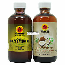 Tropic Isle Living Jamaican Black Castor Oil + Coconut Black Castor Oil 4 Oz Duo