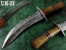 "15"" Handmade Damascus Steel  1-OF-A-KIND Bush Craft Bowie Knife UK-21"