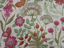 Vintage Floral Design Field Flowers Rouge Linen Look Curtain Craft Fabric