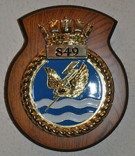 849 Naval Air Squadron mess wall or desk plaque crest RNAS FAA RN NAS Royal Navy