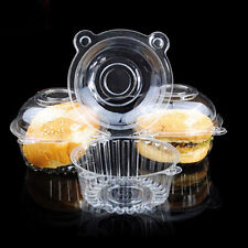 50pcs Clear Single Cake Case Cupcake Muffin Pods Domes Cup Holder Plastic Boxes