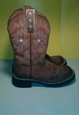 Ariat Pro Baby Womens Cowboy Boots Size 6 B Fatbaby Stars Round Brown Driftwood