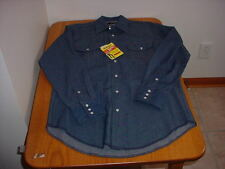 NWT MEN'S MEDIUM LS WRANGLER DARK DENIM WESTERN SHIRT (COWBOY CUT)