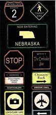 SS - FC - Nebraska Road Signs Scrapbooking Stickers - Travel, Road Trip