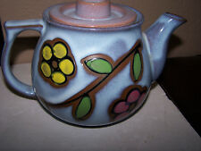 Japanese Stoneware Teapot green yellow Red floral design Mid Century Pottery
