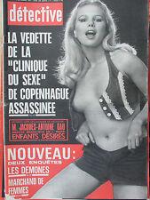"""Détective n°1465 (5/9/1974) La vedette de la """"clinique du sexe """" de Copenhague"""