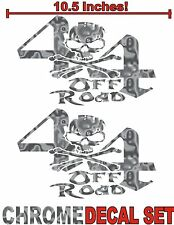 4x4 Truck Decal Set SILVER CHROME Skull Ford Chevy Dodge Toyota GMC