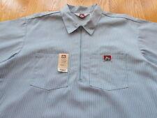 Vintage Ben Davis Hickory Work Half Zip Shirt Size XL Made in USA Blue Union