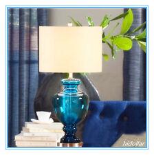 LARGE CLEAR BLUE GLASS BASE BEDSIDE TABLE LAMP DESK LIGHT H71 3KG CRYSTAL ON TOP