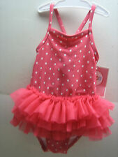 CIRCO SWIMSUIT GIRL'S SWIM BATHING SUIT CORAL POLKA DOT TULIE TUTU NWT 12M 1PC