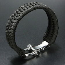 Survival Bracelet Para Outdoor Cord Black Rope Camping Steel Shackle Buckle FO
