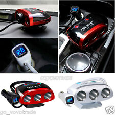 3 Way Car Cigarette Lighter Socket Splitter DC Power Charger Adapter + 2 USB 12V