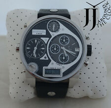 New Diesel XXL Oversize Mr. Big Daddy Dial Multi Time Black Leather Watch DZ7125