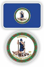 VIRGINIA State Flag + SEAL 2 bumper stickers decals USA