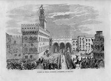 Stampa antica FIRENZE arrivo del principe Napoleone nel 1859 Old print Florence